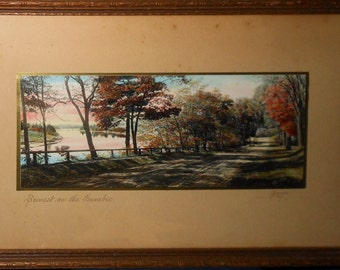 Vintage Maine  tinted sawyer photo sunset on the kennebec signed sawyer