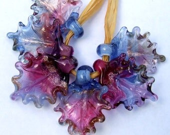 Lampwork Glass Leaves for Jewelry Making, Set of 6 leaf beads in shades of blue, amethyst, fuchsia and Goldstone, Made to Order !