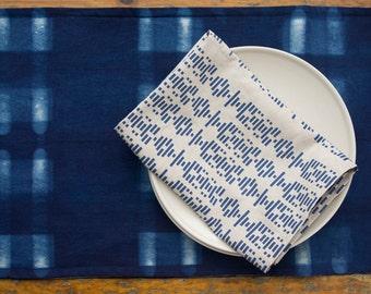 New! Shibori Resist Dyed Indigo Table Runner- Geometric Modern Table Runner