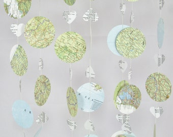 Hot Air Balloon Garland 10ft - Vintage Map Bunting, Mobile, Nursery Decoration,Baby Shower, Bon Voyage Decor, Map Garland