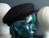 Vintage Greek Fisherman's Hat Wool Deep Purple Fiddlers Cap Aubergine Size Large