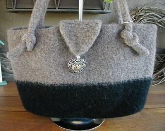 Hand Knit Felted Handbag, Hand Knit Felted Purse, Handbags, Purses