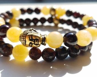 Golden Buddha Stacked Bracelet Set - Garnet & Yellow Jade - M or W