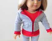 American Girl Doll Clothes; Doll Three Piece Hoodie Outfit; Girl Hoodie; Doll Leggings; Doll Hoodie; Red Doll Hoodie Outfit