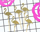Flamingo Glitter Cupcake Toppers/gold flamingoes/flamingle/flamingo party/flamingo wedding/just married/flamingoes for girl birthday