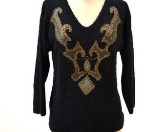 Vintage Black Sweater and Gold Metallic // 80s Black and Gold Jumper Sweater Small Medium