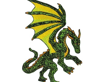 Green Fantasy Dragon Patch European Myth Creature Craft Apparel Iron-On Applique
