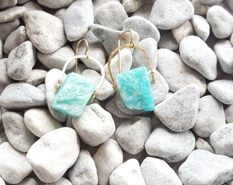 14k Gold filled Amazonite Crescent Earrings