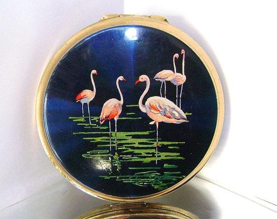 Vintage Stratton Pink Flamingo Compact Mirror Stratton Blue