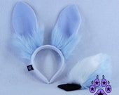 PAWSTAR Poseable Bunny Rabbit Stand UP Ears and Tail Headband Costume Easter Pastel Pink Blue Purple Lavender Black White Brown 4070