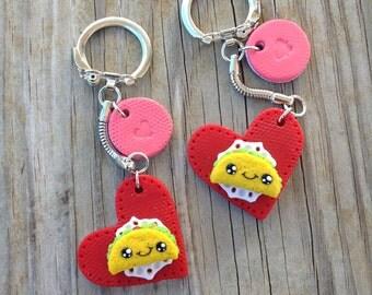 Kawaii Valentine Taco Keychain