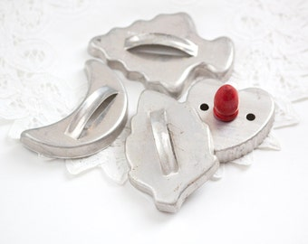Vintage Aluminum Cookie Cutters, Moon, Leaf, Tree and Heart