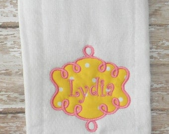 Yellow & Pink Personalized Burp Cloth Rag