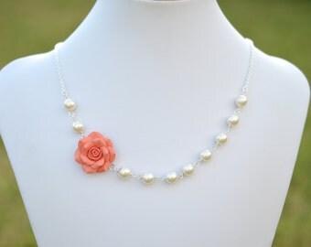 FREE EARRINGS. Alice Asymmetrical Necklace in Coral Orange Rose