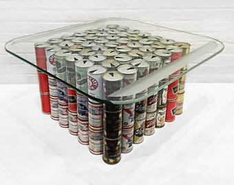 1970s Folk Art Beer Can Table Base