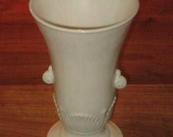 Fire King Ivory Tab Handle Deco Vase by Anchor Hocking