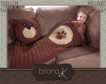 Bear Sleeping Bag & Pillow Crochet PATTERN for Toddler, Preschool, and Child, Instant Download