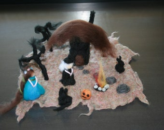 SALE Was 90USD Witch House Playscape With Movable Characters/Objects.Wet and needle felted Playscape. Fairytale. Measures 25x26cm. Halloween