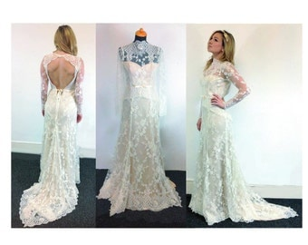 Boho Lace wedding dress low back