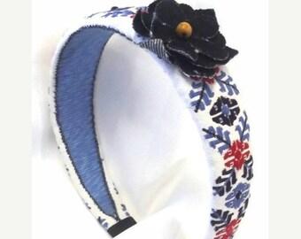 FALL SALE, Boho Flower Headband - Vintage Fabric Hair Accessory - Embroidered Headband