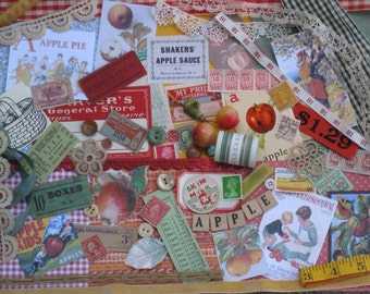 Apple Picking Fall Jumbo Vintage Inspiration Kit - 207 Pieces - Red Green Gold Brown - Antique Papers,Trims - Vintage Supplies Scrapbooking