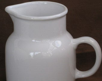 Vintage White Ceramic Pitcher from Portugal - Vase - Contemporary Farmhouse, Cottage Chic - Serving, Storage, Display