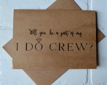 Will you be my personal attendant card I DO CREW bridal party card bridesmaid card kraft wedding be my bridesmaid funny bridal crew  wedding