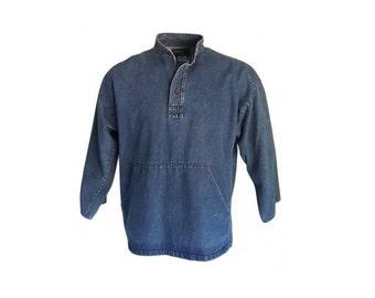Vintage 70s FISHERMAN SMOCK Jacket • Irish Denim Pullover Shirt • Mandarin Collar • Made in Ireland • Size L - XL