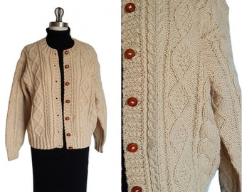 Irish Cable Knit Wool Cardigan • Vintage Hand Knit Ivory Beige Button up Sweater • Size S / M