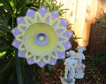 Lovely Lavender & Lemon Yellow Glass Garden Sculpture - Glass Flower - hand painted yard art, glass garden flower - garden gift
