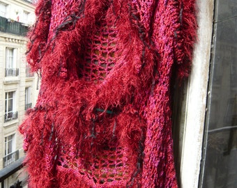 Hand crocheted shrug bolero vest sweater red brilliant cotton luxurious ribbon anf furry fringe,boho,hippie