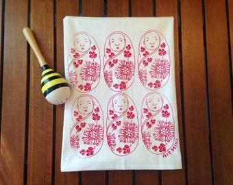"""Flour Sack Towels -  Screen Print Tea Towel - Kitchen Towels  - Tea Towel Flour Sack - Hawaiian illustration - """"Lehua&Ohia's Baby"""""""