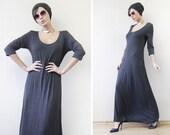 Vintage dark grey viscose elbow sleeve fitted floor maxi dress M-L