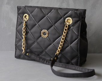 BRACIANO ORIGINAL Vintage quilted black bag chain shoulder strap small ladys handbag purse