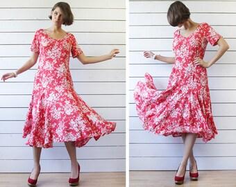 LA ROCHELLE Vintage red white floral print viscose full skirt short sleeve summer dress M L