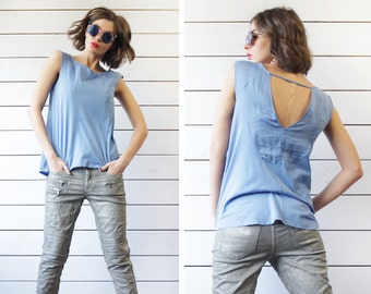 MAX&Co by MaxMara vintage sky blue cotton linen keyhole open back blouse top