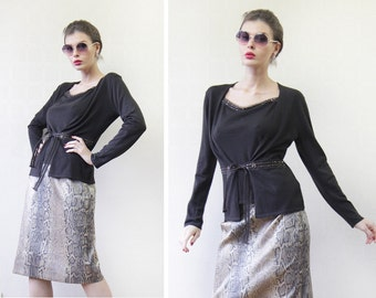 LAUREL Vintage chocolate brown wool silk cashmere knit two piece cardigan sweater top twin set