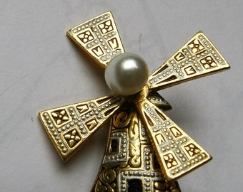 Vintage Gold Filled Damascene Windmill Brooch Pin Made in Spain