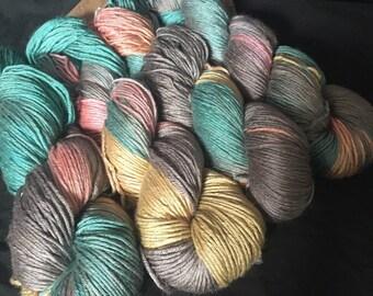 Before Dawn hand dyed silk and camel Dk yarn