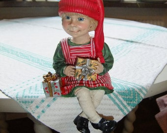 Vintage Sitting Candy Design girl - Carl Larson - Christmas - Made in Norway