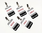 customizable teacher nurse office library  bathroom hallpasses - simple black and white polka dots with red accents - 5CHP47