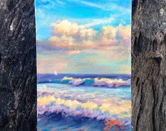 Hawaii Beach Landscape Original Acrylic Painting,  Kakaako Sunset