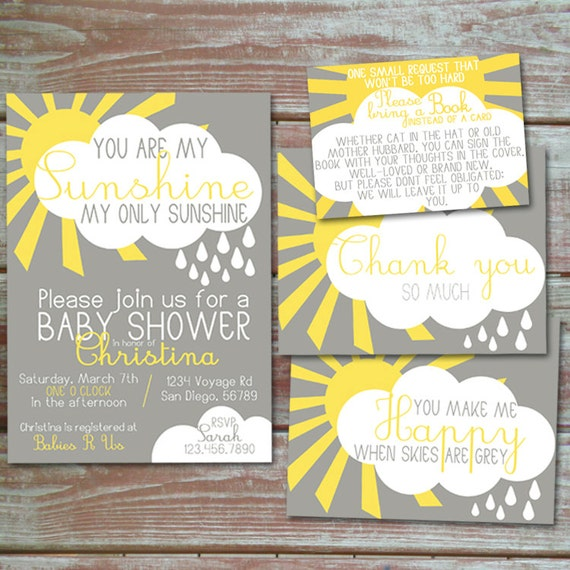 you are my sunshine baby shower invitation set