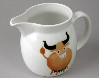 Vintage Arabia Finland Kaj Franck Heluna Cow Bull Pitcher 6in Pitcher Danish Modern Made In Finland