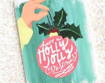 Christmas Card - Christmas Card Set - Holiday Card Set - Painted Christmas Cards - Christmas Card Pack - Holly Jolly Christmas Card Set
