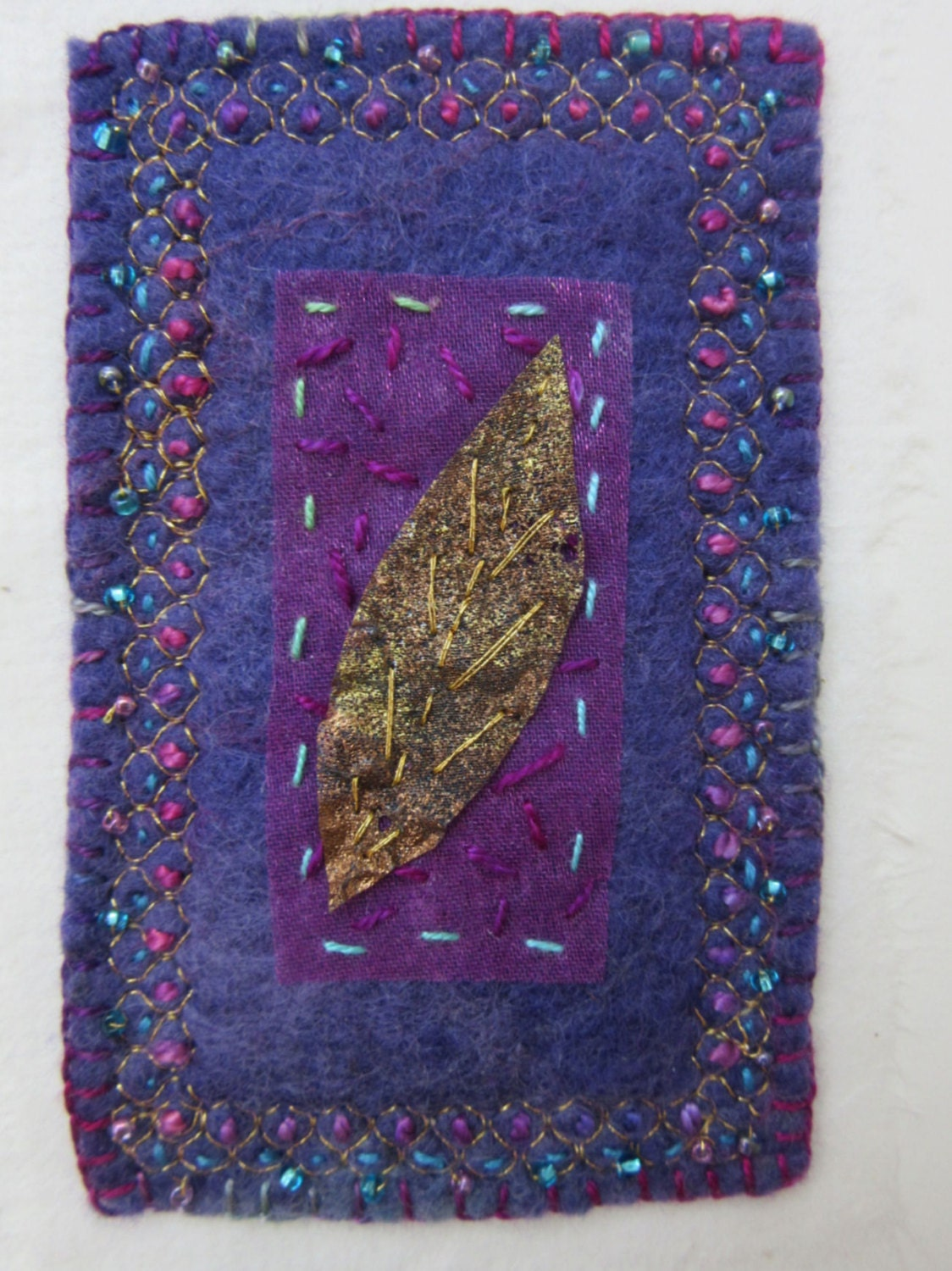 Embroidered leaf picture contemporary art embroidery in