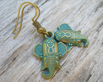 Patina Elephant Earrings, Antiqued BRONZE, Earrings, Personalized Swarovski Birthstone, Verdigris Hindu Earrings, Buddhist, Pachyderm