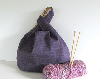 Japanese knot bag, Knitting project bag, tote - purple handbag, Gift for knitters Sweater knitting bag