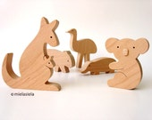 Australian animals - Kangaroo, Koala, Wombat, Emu, Platypus  - Wooden Toy Set - Set of 5