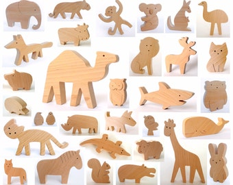 ANY 2 wooden animals - Organic wooden toy - handmade wooden toys - baby wooden toy